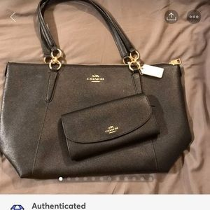 Coach Black Crossgrain Ava Tote & Wallet NWT